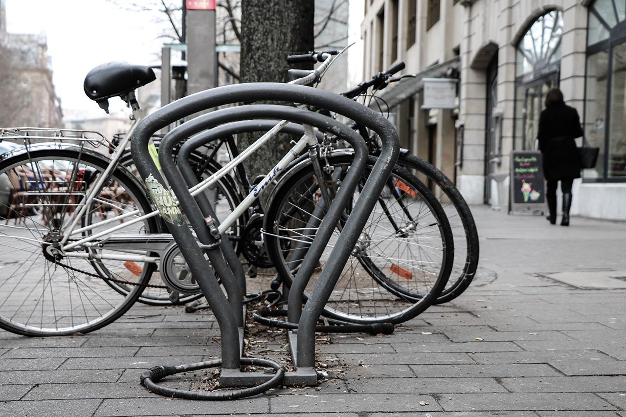 Städtischer Fahrradständer
